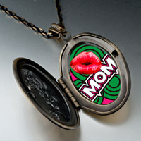 Necklace & Pendants - mom red lip pendant necklaceoval flower yellow for women Image.