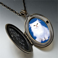 Necklace & Pendants - white fluffy cat pendant necklace Image.