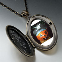Necklace & Pendants - jack o lantern halloween pumpkin pirate oval and flower yellow pendant Image.