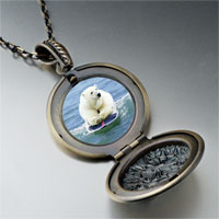 Necklace & Pendants - boogie boarding polar bear photo locket pendant necklace Image.