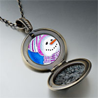 Necklace & Pendants - necklace striped hat christmas gifts snowman photo locket pendant necklace Image.
