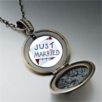 Necklace & Pendants - just married sign photo locket pendant necklace Image.