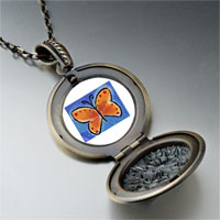 Necklace & Pendants - orange butterfly photo locket pendant necklace Image.