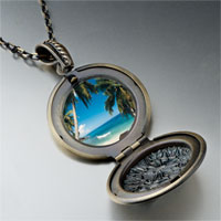 Necklace & Pendants - tropical beach scene photo locket pendant necklace Image.