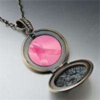 Necklace & Pendants - breast cancer awareness pink ribbon photo locket pendant necklace Image.