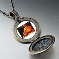 Necklace & Pendants - smiling jack o lantern halloween pumpkin face lanterns round and flower pendant Image.