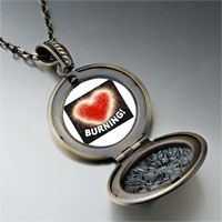 Necklace & Pendants - burning love heart pendant necklace Image.