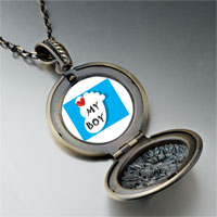 Necklace & Pendants - heart baby boy foot blue pendant necklace Image.