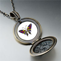 Necklace & Pendants - blue red &  yellow butterfly pendant necklace Image.
