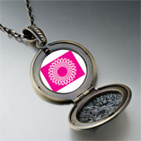 Necklace & Pendants - circle pink ribbons pendant necklace Image.