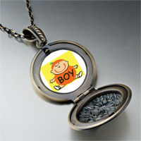 Necklace & Pendants - cute jack o lantern halloween pumpkin boy round and flower pendant Image.