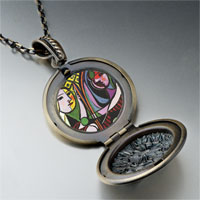 Necklace & Pendants - girl before a mirror painting pendant necklace Image.