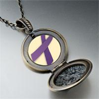 Necklace & Pendants - purple ribbon awareness pendant necklace Image.