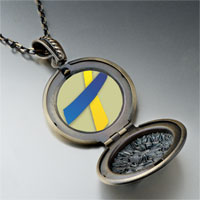 Necklace & Pendants - blue yellow ribbon awareness pendant necklace Image.