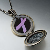 Necklace & Pendants - lavender ribbon awareness pendant necklace Image.