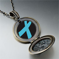 Necklace & Pendants - light blue ribbon awareness pendant necklace Image.