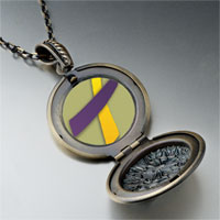Necklace & Pendants - purple yellow ribbon awareness pendant necklace Image.