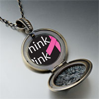 Necklace & Pendants - think pink ribbon awareness pendant necklace Image.