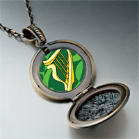 Necklace & Pendants - patrick' s day theme photo round flower pendant celtic harp gifts for women necklace Image.