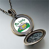 Necklace & Pendants - cartoon theme photo round flower pendant i' m lucky gifts for women necklace Image.