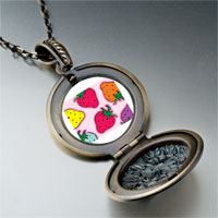 Necklace & Pendants - cartoon theme photo round flower pendant strawberry summer gifts for women necklace Image.