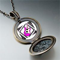 Necklace & Pendants - music theme pink electric guitar photo pendant necklace Image.