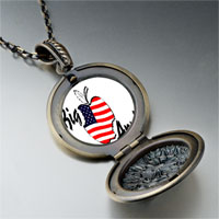 Necklace & Pendants - american flag printed on apple round flower pendant gifts for women necklace Image.