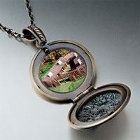 Necklace & Pendants - huts on green pendantround flower gifts for women necklace Image.