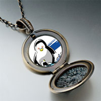 Necklace & Pendants - cute penuins mother looking at baby pendant necklace round flower Image.