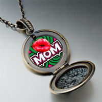 Necklace & Pendants - mom red lip pendant necklaceround flower for women Image.