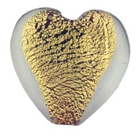 Heart Shaped Gold Foil Lampwork Murano Glass Pendant