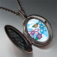 Necklace & Pendants - dragonflies flowers photo locket pendant necklace Image.