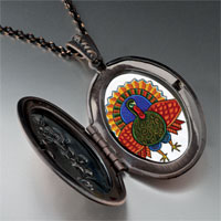 Necklace & Pendants - folk art turkey photo locket pendant necklace Image.