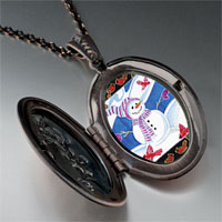 Necklace & Pendants - necklace festive christmas gifts snowman photo photo locket pendant necklace Image.