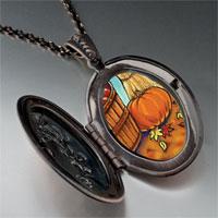 Necklace & Pendants - autumn jack o lantern halloween pumpkin oval and flower pendant Image.