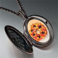 Necklace & Pendants - autumn leaf wreath photo locket pendant necklace Image.