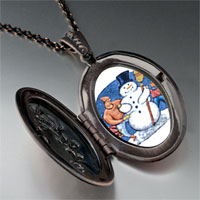 Necklace & Pendants - necklace building a christmas gifts snowman photo locket pendant necklace Image.