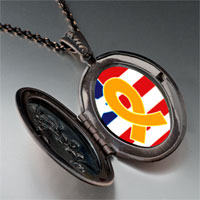 Necklace & Pendants - usa flag &  yellow ribbon photo locket pendant necklace Image.