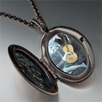 Necklace & Pendants - picasso' s old guitarist photo locket pendant necklace Image.