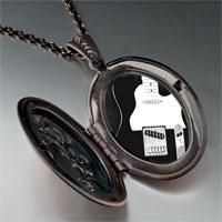 Necklace & Pendants - black electric guitar photo locket pendant necklace Image.