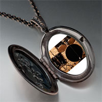 Necklace & Pendants - rock roll drums photo locket pendant necklace Image.