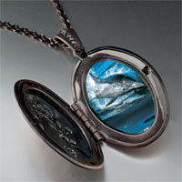Necklace & Pendants - dolphin swimming photo locket pendant necklace Image.