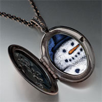 Necklace & Pendants - necklace christmas gifts snowman smile photo locket pendant necklace Image.