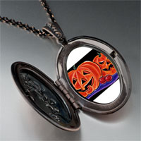 Necklace & Pendants - halloween jack o'  lanterns photo locket pendant necklace Image.