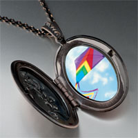 Necklace & Pendants - flying a purple kite photo locket pendant necklace Image.