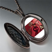 Necklace & Pendants - red christmas ornament ribbon photo locket pendant necklace Image.