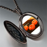 Necklace & Pendants - jack o lantern halloween pumpkin toys oval and flower pendant Image.