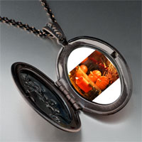 Necklace & Pendants - jack o lantern halloween pumpkin and candle thanksgiving decorationsoval and flower pendant Image.