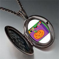 Necklace & Pendants - jack o lantern halloween pumpkin candy bag oval and flower pendant Image.