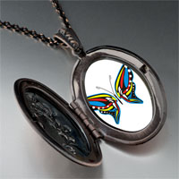 Necklace & Pendants - exotic blue yellow &  red butterfly pendant necklace Image.